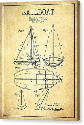 Sailboat Patent Drawing From 1948 - Vintage Canvas Print
