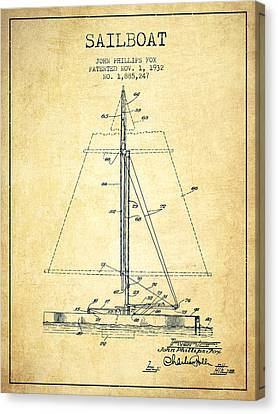 Sail Boats Canvas Print - Sailboat Patent From 1932 - Vintage by Aged Pixel