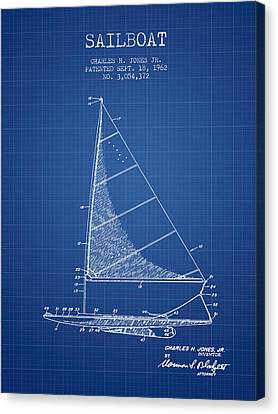 Sailboat Patent From 1962 - Blueprint Canvas Print
