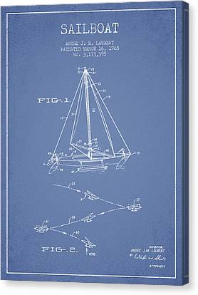 Sail Boats Canvas Print - Sailboat Patent From 1965 - Light Blue by Aged Pixel