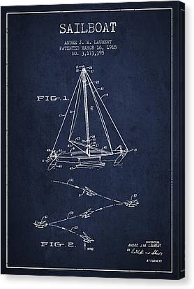 Sailboat Patent From 1965 - Navy Blue Canvas Print