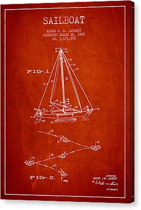 Sail Boats Canvas Print - Sailboat Patent From 1965 - Red by Aged Pixel