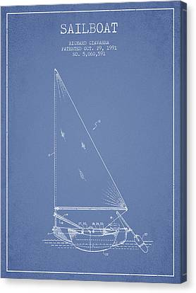 Sailboat Patent From 1991- Light Blue Canvas Print by Aged Pixel