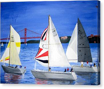 Sailboat Race In Lisbon Canvas Print