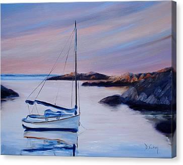 Sailboat Reflections I Canvas Print by Donna Tuten