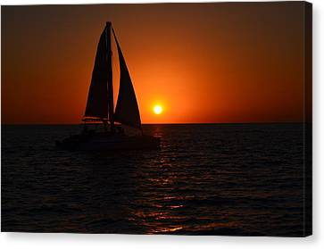 Sailboat Sunset Canvas Print by James Petersen