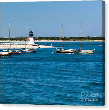 Sailboats And Brant Point Lighthouse Nantucket Canvas Print