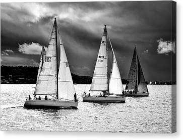 Canvas Print featuring the photograph Sailboats And Storms by Photography  By Sai