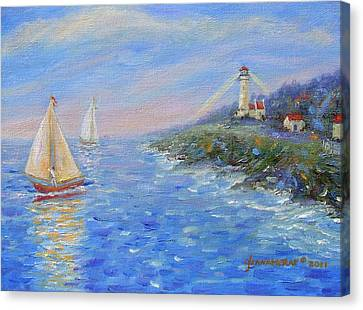 Sailboats At Heceta Head Lighthouse Canvas Print by Glenna McRae