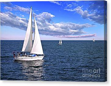 Sailboats At Sea Canvas Print
