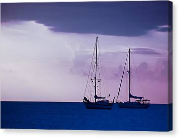 Canvas Print featuring the photograph Sailboats At Sunset by Don Schwartz