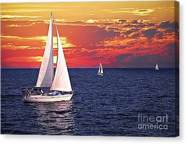 Activity Canvas Print - Sailboats At Sunset by Elena Elisseeva