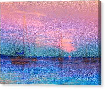 Sailboats At Sunset Canvas Print by Jeff Breiman