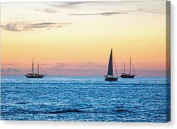 Sailboats At Sunset Off Key West Florida Canvas Print