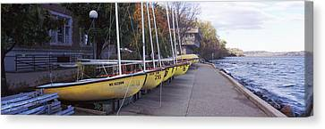 Sailboats In A Row, University Canvas Print by Panoramic Images