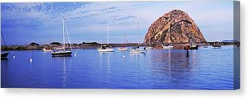 Sailboats In An Ocean, Morro Bay, San Canvas Print