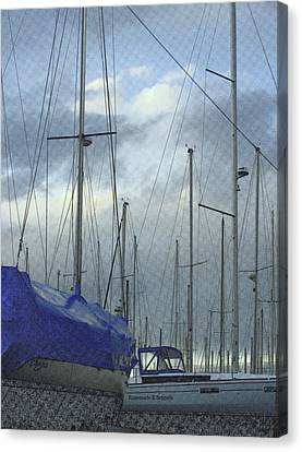 Sailboats In Dry Dock  Canvas Print by Rosemarie E Seppala