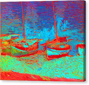 Sailboats In Port Collioure V Canvas Print by Henri Martin - L Brown