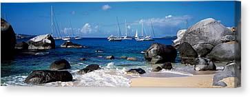 Sailboats In The Sea, The Baths, Virgin Canvas Print