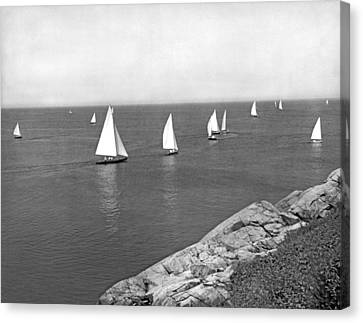 Sailboats On A Calm Day. Canvas Print by Underwood Archives