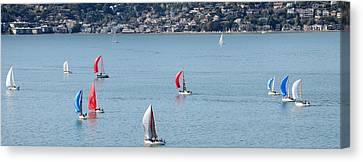 Sailboats On San Francisco Bay Canvas Print by Panoramic Images