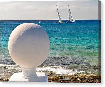 Canvas Print featuring the photograph Sailboats Racing In Cozumel by Mitchell R Grosky