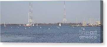 Sailboats With Chesapeake Bay Bridge Beyond Canvas Print by Christina Verdgeline