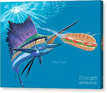Sailfish Sub Canvas Print by Carey Chen