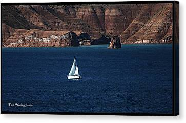 Canvas Print featuring the photograph Sailing At Roosevelt Lake On The Blue Water by Tom Janca