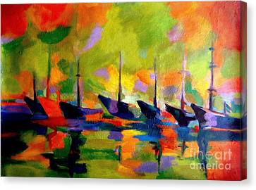 Sailing Boats By The River Canvas Print by Helena Wierzbicki