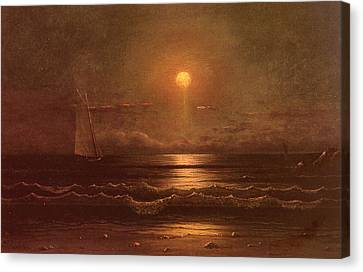 Sailing By Moonlight Canvas Print by Martin Heade