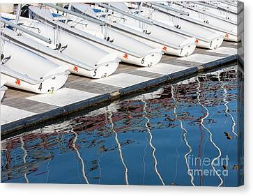Sailing Dinghies And Reflections I Canvas Print by Clarence Holmes