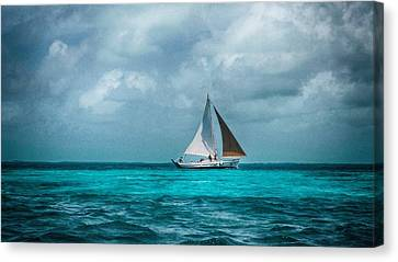 Sailing In Blue Belize Canvas Print
