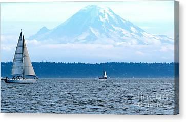 Sailing In Mt. Rainier's Shadow Canvas Print
