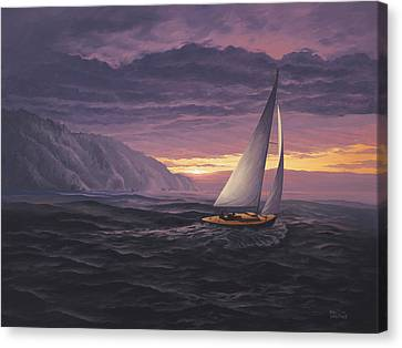 Sailing In Paradise - Big Sur Canvas Print by Del Malonee