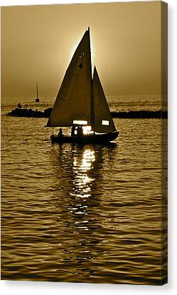 Sailing In Sepia Canvas Print by Frozen in Time Fine Art Photography