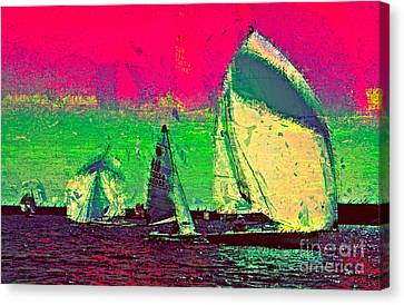Sailing In Shimmer Canvas Print by Julie Lueders