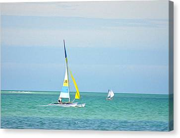 Sailing In The Gulf Of Mexico Canvas Print by Bill Cannon