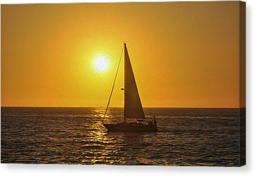 Sailing Into The Sunset Canvas Print by Aged Pixel
