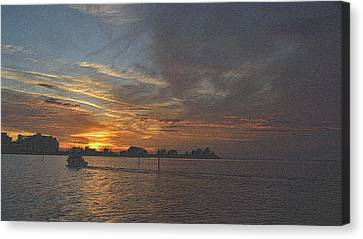 Tropical Sunset Canvas Print - Sailing Into The Sunset by Richard Zentner