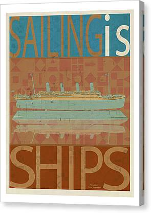 Sailing Is Titanic Model On Brown Canvas Print