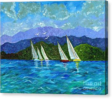Canvas Print featuring the painting Sailing by Laura Forde