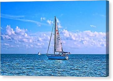 Sailing Off Of Key Largo Canvas Print