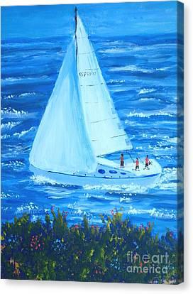 Sailing Off The Coast Canvas Print