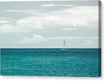 Sailing On A Turquoise Sea Canvas Print by Jason Bartimus