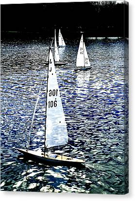 Sailing On Blue Canvas Print by Steve Taylor