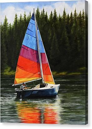 Sailing On Flathead Canvas Print by Kim Lockman