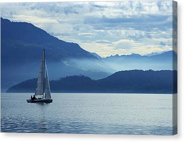 Sailing On Lake Zug Canvas Print by Ron Sumners