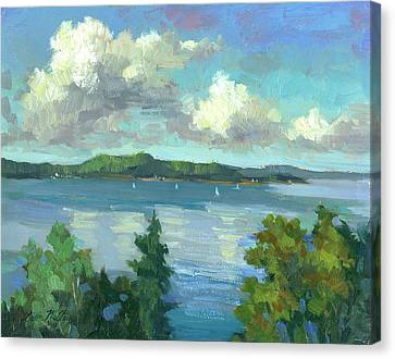 Change Canvas Print - Sailing On Puget Sound by Diane McClary