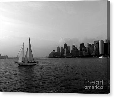 Sailing On The Hudson Canvas Print by Avis  Noelle